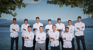 Raynald Aeschlimann, President and CEO of OMEGA and Ernesto Bertarelli, Founder and President of ALINGHI with Team